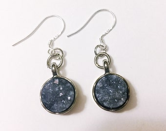Natural Stone Earrings in Silver and in Blue Silver
