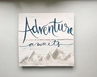 Adventure Awaits   Handmade Nursery Sign