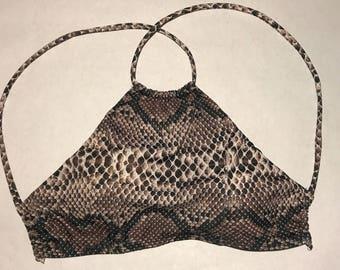 Snakeskin Crop Top Bikini Top
