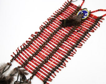Native American Breastplate, Indian Choker, Beaded Choker, Indian Costume, Hair Pipe Choker, Native American Choker