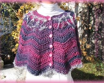 Hot pink and purple shoulders knitted hand crochet in thick wool and silver border