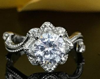Moissanite 1.50ctw. Flower Engagement Wedding Anniversary Ring 14k White Gold #4814
