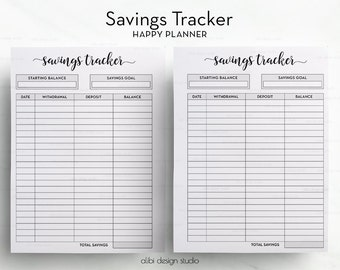 Savings Tracker • Savings Printable • Happy Planner Insert • Saving Planner • Money Organizer • Savings Goal Tracker MAMBI Financial Planner