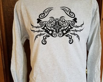 Long Sleeve Tee with Crab Print