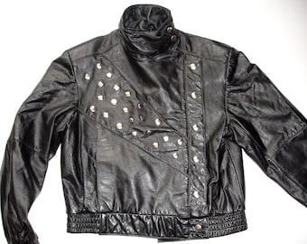 Split end ltd. Vintage Black Leather Biker Motorcycle Studded JACKET,  Sz M 7/8