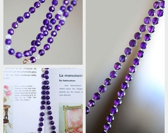 CHARMING necklace a river of natural amethyst with a rich purple color ! Clasp in 18k solid gold 750 gold 750 18K