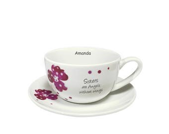 Pink Pansies Sister Sentiments Cup & Saucer