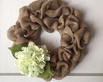 Country Chic Burlap Wreath With Light Green Hydrangea