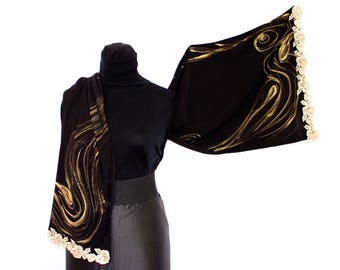 Jersy black scarf; with hand-painted golden spiral designs; Elegant evening scarf; Produced in Italy