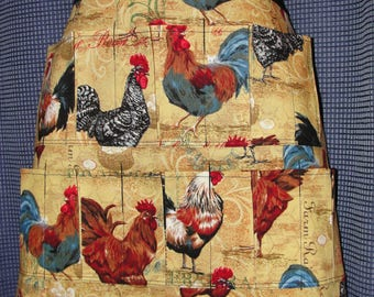 Egg Gathering Collecting Apron 10 Pockets Rooster Collage