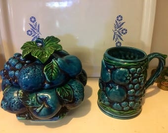 Blue Mood Indigo Cookie Jar and Mug by Inarco