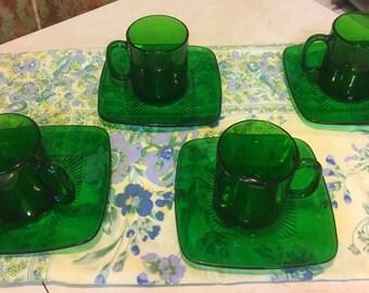 Duralex Green Mugs and Anchor Hocking Plates