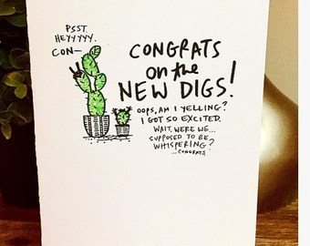congrats on the new house card, cactus new house card, housewarming card, new digs, cactus card, unique housewarming card, hand lettered