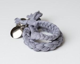 Cotton Braided Pacifier Clip | Dark Grey | Choose Style
