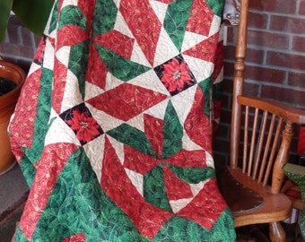 Red and Green Holiday Quilt Blanket Custom Made Quilt with Vivid Colors Poinsettia motif Oversize Throw Lap Quilt
