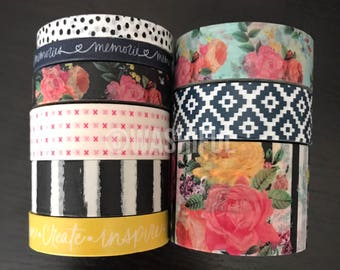 "24"" SAMPLES of the paper studio petals + blooms floral washi tape (M168)"