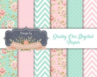 SALE Sea Green & Pink shabby chic digital paper, floral pink and aqua paper, floral paper, shabby chic paper, floral aqua paper, chevron