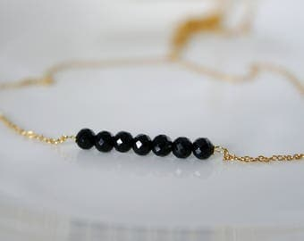 Fine necklace with black spinel necklace 925 sterling silver gold plated
