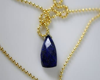 Ball chain necklace with lapis lazuli gemstone pendant necklace 925 silver plated