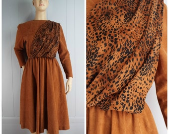 Vintage Womens 1980s Microsuede Long Sleeve Dress with Animal Print Accent | Size M/L