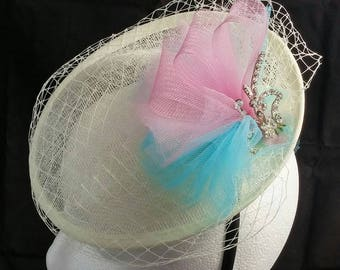 Ivory, Pink, and Blue Fascinator with Tulle and Ivory Netting
