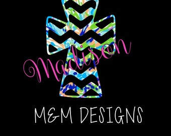 Personalized Chevron Lilly Pulitzer Cross Decal