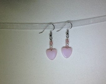 Pink Frosted Glass Heart Earrings for Valentine's Day