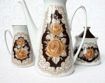 ESPRESSO Coffee Set Vintage/ Porcelain Coffee Pot, Creamer & Sugar Bowl/ Floral decal, Roses/ Latvia 1980s