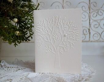 Embossed Christmas Card Set, Embossed tree cards set, Holiday Cards Set, Merry Christmas Card, Cards Set, Set of 6,12,18,24