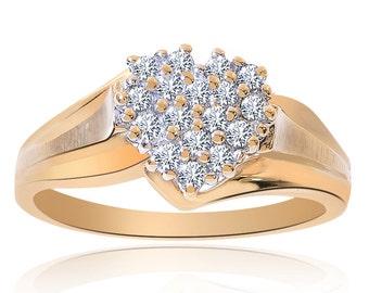 0.25 Carat Round Cut Diamond Heart Cluster Ring 10K Yellow Gold