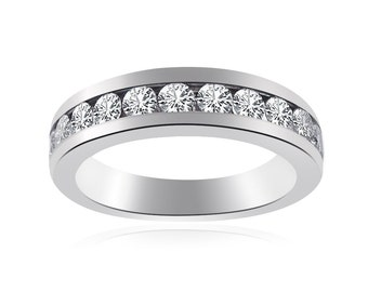 1.25 Carat Round Cut Diamond Womens Wedding Band 14K White Gold