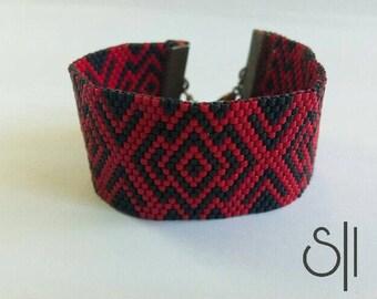 Red and black miyuki bracelet