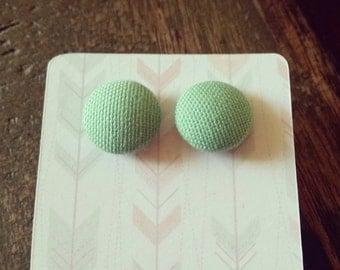 Handmade pale green 15mm button earrings