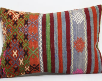 Handwoven Kilim Pillow Sofa Pillow 16x24 Lumbar Kilim Pillow Sofa Pillow Ethnic Pillow Decorative Kilim Pillow Cushion Cover SP4060-476