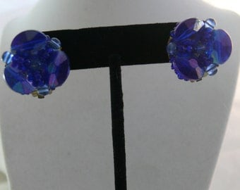 Sapphire Blue Vintage Cluster Beaded Earrings Signed West Germany