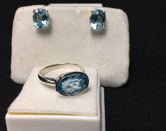 Swiss Blue Topaz Ring and Earring Set