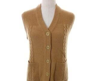 Vintage Mervyns 80's Brown Tan Cable Knit Sweater Cardigan Vest Large Medium
