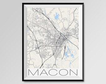 MACON Georgia Map, Macon City Map Print, Macon Map Poster, Macon Wall Map Art, Macon gift, Custom city maps, Personalized maps, Bibb County