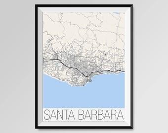 SANTA BARBARA California Map, Santa Barbara City Map Print, Santa Barbara Map Poster, Santa Barbara Wall Art gift, University of California