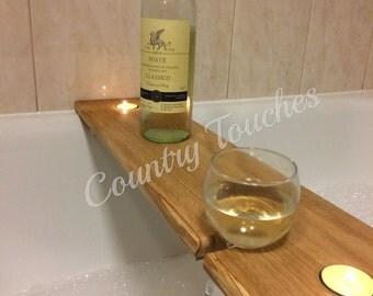 Hardwood wooden bath caddy, bath shelf, wine caddy,  glass holder. Gift. Bathroom decor.