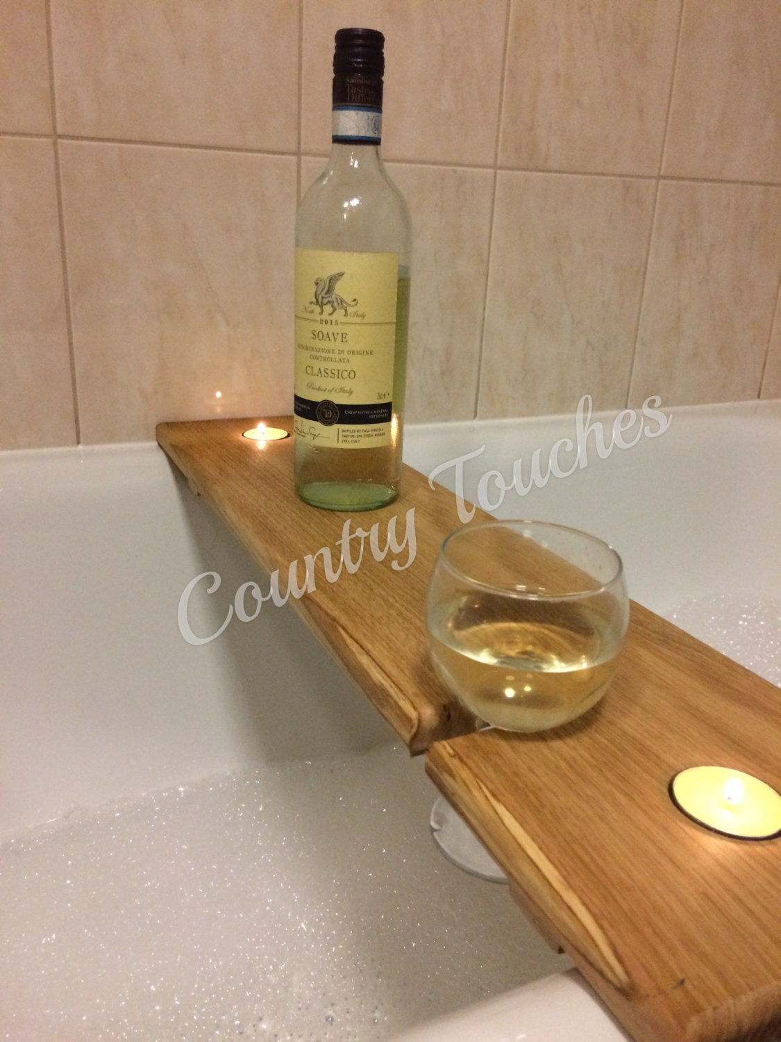 Hardwood wooden bath caddy, bath shelf, wine caddy, glass holder ...