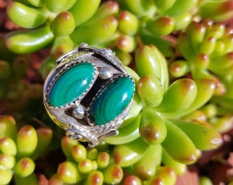 Large two stoned Green Malachite and Sterling Silver Ring Size 9.5.
