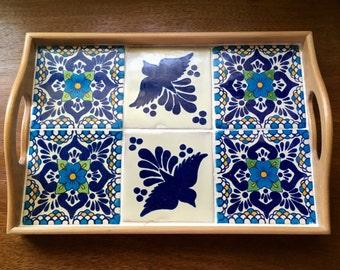 Serving tray, coffee table tray, ottoman tray, wood tray, tile tray, Mexican,housewarming gift,talavera tile, wedding gift,boho,organization