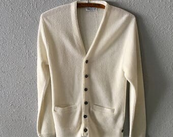 1960's White Vintage Grandpa Cardigan With Pockets Mr Rogers Cardigan Sweater
