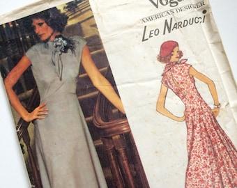 Vintage Vogue American Designer Pattern 1202 Leo Narducci Dress Size 10