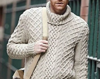 Men's Turtleneck knit sweater hand-knitted
