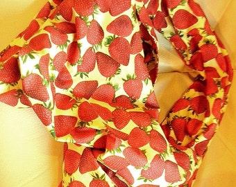 Scarf Strawberry fashion / vegan clothing / chef clothing / Strawberry clothing / healthy fitness yoga / Fruit clothing / zen / scarves