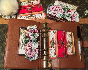 Double sided***Vintage Luggage/Trunk With Flowers Page Laminates- GM, MM, PM