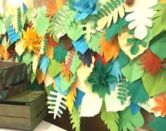 safari backdrop / leaves backdrop / paper leaves backdrop / Tropical leaves backdrop / Jungle party backdrop /Kids party/Dessert table