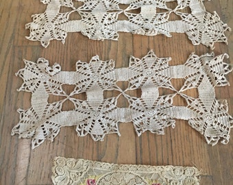 Crocheted doily sections and floral lace bundle